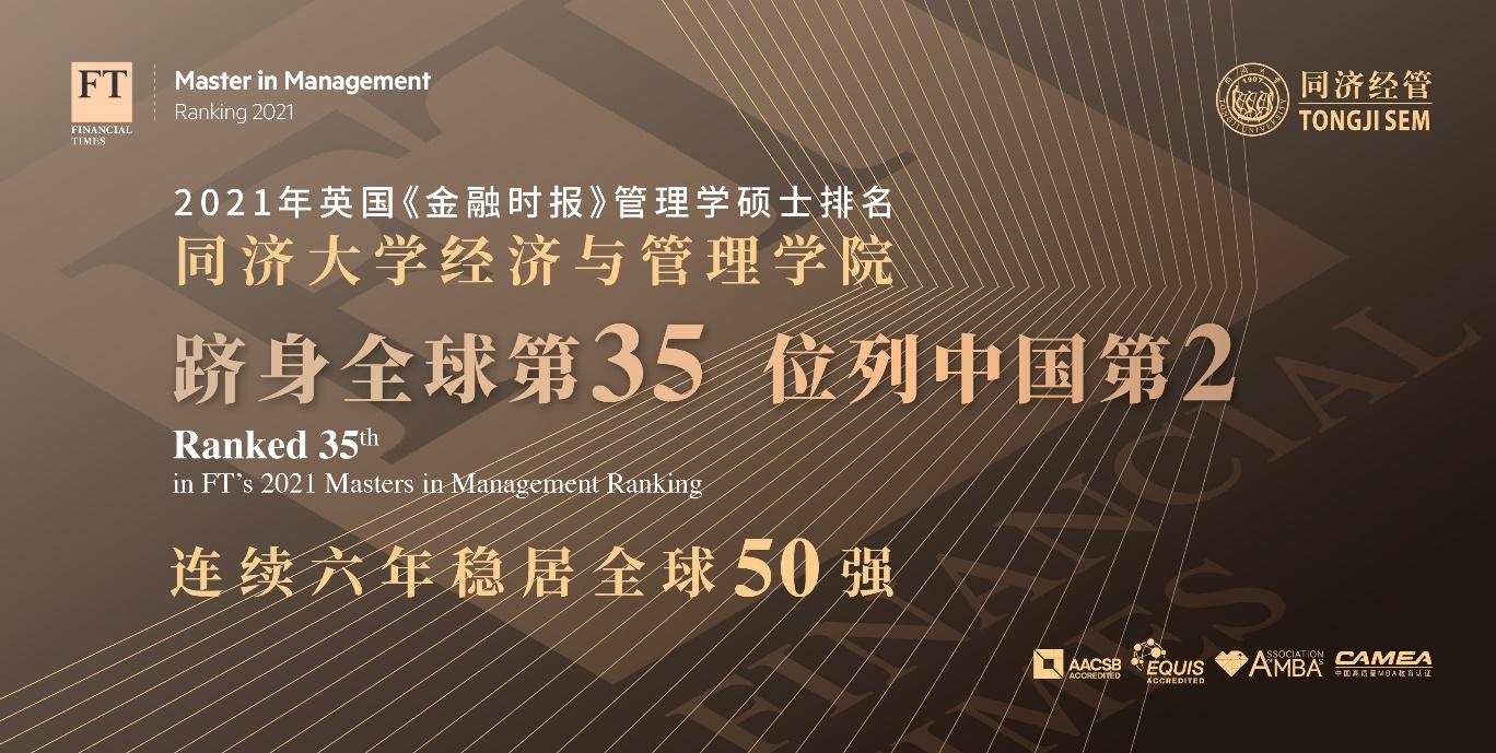 同济经管管理学硕士FT排名跻身全球第35 连续六年稳居全球50强