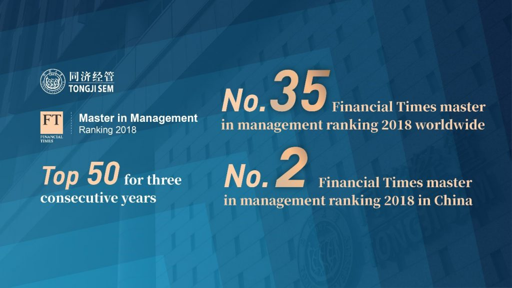 Tongji MSc in Enterprise Management ranked the 35th Worldwide  and the 2nd in China by Financial Times